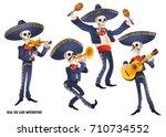 dia de muertos. mariachi band... | Shutterstock .eps vector #710734552