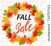 autumn hand drawn lettering.... | Shutterstock .eps vector #710737312