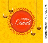 happy diwali text design.... | Shutterstock .eps vector #710737675
