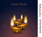 happy diwali text design.... | Shutterstock .eps vector #710737696