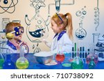student doing research with... | Shutterstock . vector #710738092