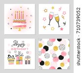 happy birthday cards set.... | Shutterstock .eps vector #710739052