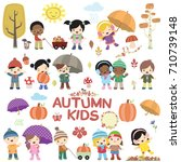 autumn children vector set | Shutterstock .eps vector #710739148