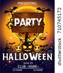 halloween party cartoon banner... | Shutterstock .eps vector #710745172