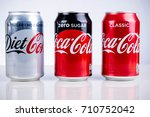 London, United Kingdom - May 11, 2017. Can of Coke Zero, Diet Coke & Classic Coca-Cola. Classic Coca-Cola has aproximately seven teaspoons of sugar per 330ml can, unlike Diet Coke and Coke Zero - stock photo