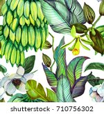 tropical watercolor seamless... | Shutterstock . vector #710756302