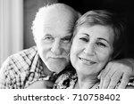 clouseup portrait of senior... | Shutterstock . vector #710758402
