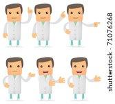Set Of Funny Cartoon Doctor In...
