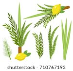 happy sukkot set. collection of ... | Shutterstock .eps vector #710767192