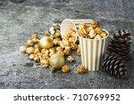 appetizing golden caramel... | Shutterstock . vector #710769952