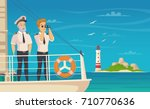 yacht cruise liner captain and... | Shutterstock .eps vector #710770636