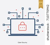 cy ber security lock icon... | Shutterstock .eps vector #710770942