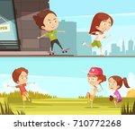 kids sport outdoors horizontal... | Shutterstock .eps vector #710772268