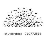 halloween flying bats.... | Shutterstock .eps vector #710772598