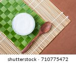 thai dessert coconut pudding... | Shutterstock . vector #710775472
