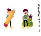 vector cartoon teenage man ... | Shutterstock .eps vector #710776738