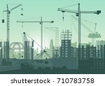 tower cranes on construction... | Shutterstock .eps vector #710783758