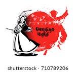 celebrate navratri festival... | Shutterstock .eps vector #710789206