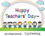 happy teachers day | Shutterstock .eps vector #710794936
