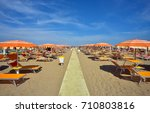 beach of rimini  italy  with... | Shutterstock . vector #710803816