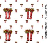 vector red polka dot wellies... | Shutterstock .eps vector #710804596