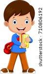 cute schoolboy walking with... | Shutterstock .eps vector #710806192
