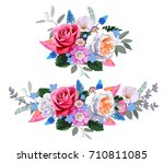 bouquet with roses and blue... | Shutterstock .eps vector #710811085