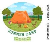camping illustration of summer...   Shutterstock .eps vector #710816026