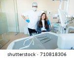 beautiful brunette caucasian... | Shutterstock . vector #710818306