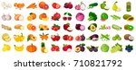 set of berries and fruits ... | Shutterstock .eps vector #710821792