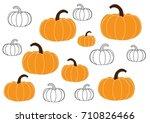 pumpkin on white background.  ... | Shutterstock .eps vector #710826466
