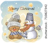 greeting christmas card teddy ... | Shutterstock .eps vector #710827342