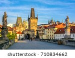 prague main sights at dawn ... | Shutterstock . vector #710834662