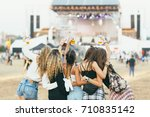 friends having fun at music... | Shutterstock . vector #710835142