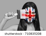 female supporter in national... | Shutterstock . vector #710835208