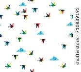 spring flying birds... | Shutterstock .eps vector #710839192