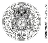 mandala. zentangle owl. hand... | Shutterstock .eps vector #710843272