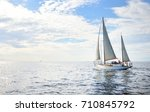 vintage wooden two mast yacht... | Shutterstock . vector #710845792