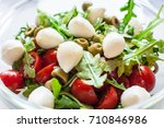 fresh salad with tomatoes ... | Shutterstock . vector #710846986