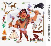 indian or native american with... | Shutterstock .eps vector #710850412