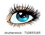 heart glare in the eye. female... | Shutterstock .eps vector #710855185