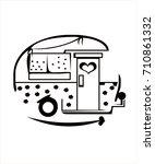 happy camper cartoon | Shutterstock .eps vector #710861332