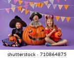 happy brother and two sisters... | Shutterstock . vector #710864875