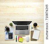 office workplace with laptop ...   Shutterstock . vector #710876245