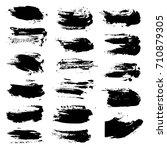 black brush strokes isolated on ... | Shutterstock .eps vector #710879305