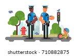 police patrol officer on city...   Shutterstock .eps vector #710882875