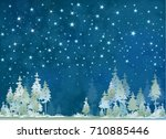 Vector Winter Night Starry Sky...