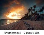 tropical beach in punta cana ... | Shutterstock . vector #710889106