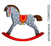 Stock vector rocking horse children s toy classic wooden swing vector illustration 710895322