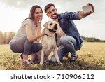 beautiful romantic couple is... | Shutterstock . vector #710906512